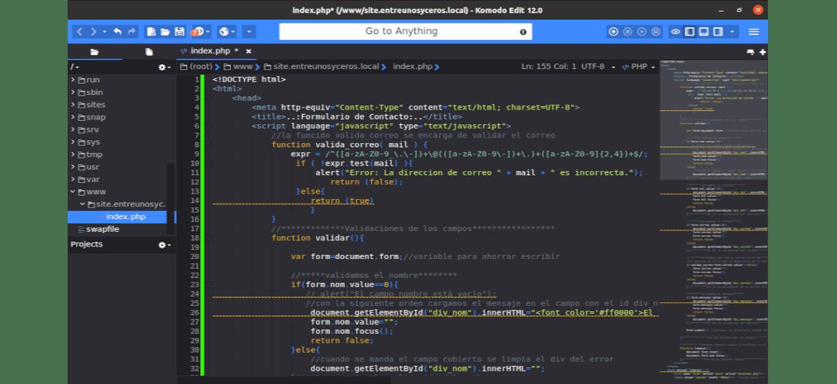 ejemplo con Komodo Edit 12