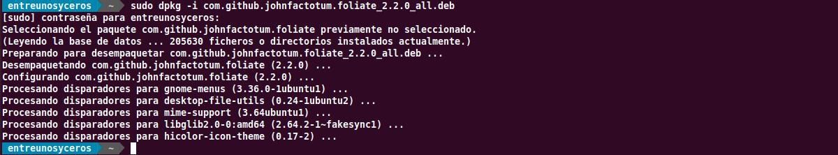 instalación deb foliate 2.2.0