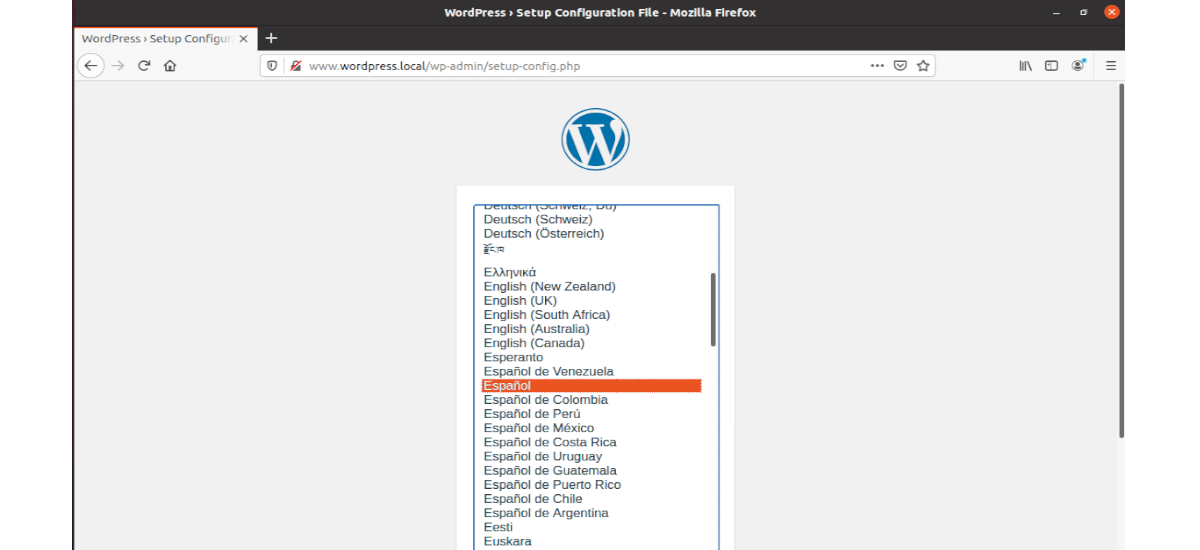 selección del lenguaje en la instalación de WP