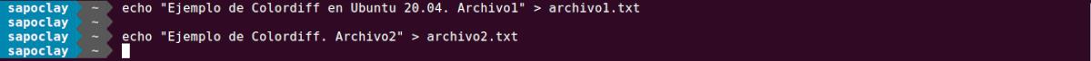 creación básica de los archivos del ejemplo