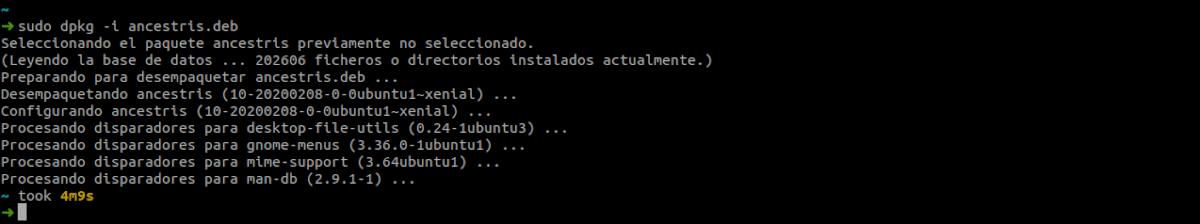 instalar el programa ancestris como .deb
