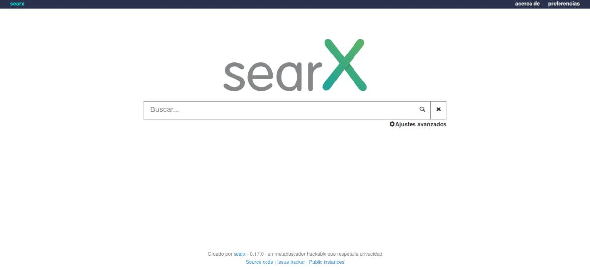pantalla de searx