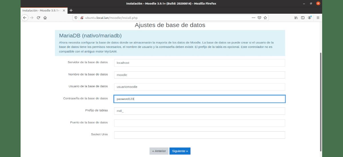 ajuste de base de datos