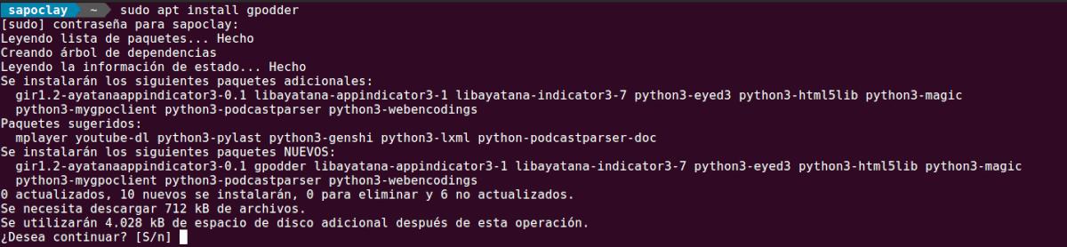 instalar gpodder en Ubuntu