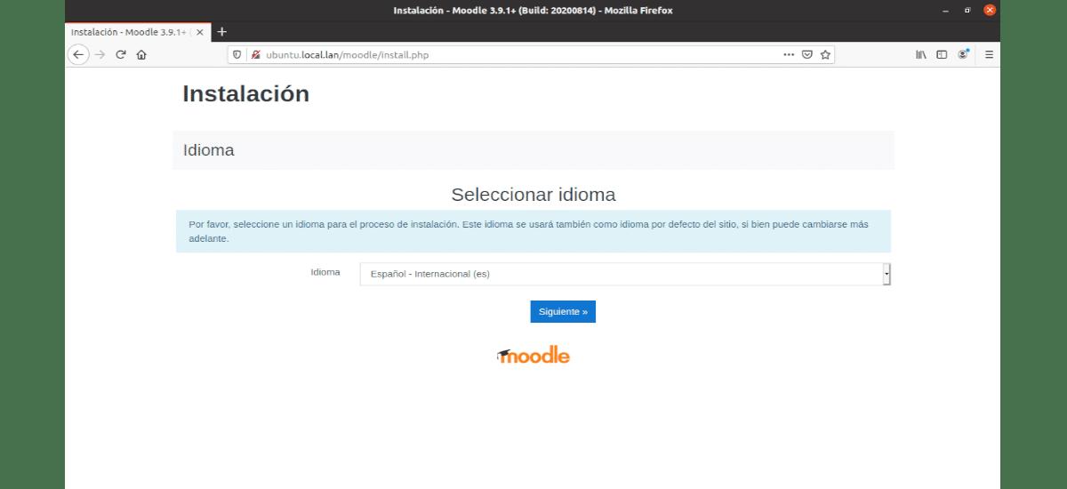selección del idioma para la instalación de moodle