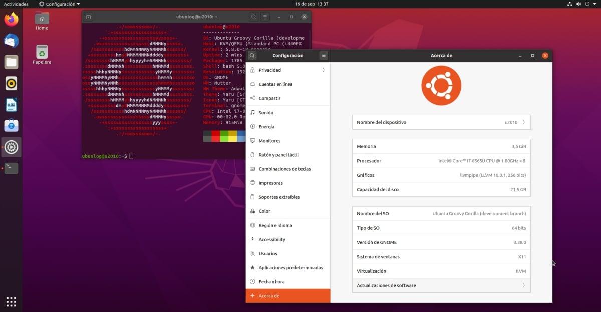 GNOME 3.38 en Ubuntu 20.10