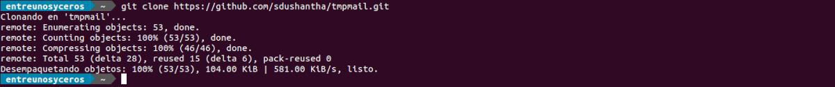 clonando el repositorio de tmpmail
