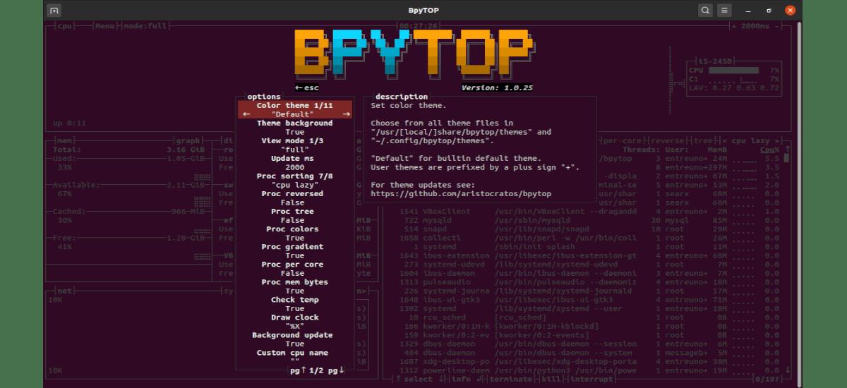 opciones de bpytop