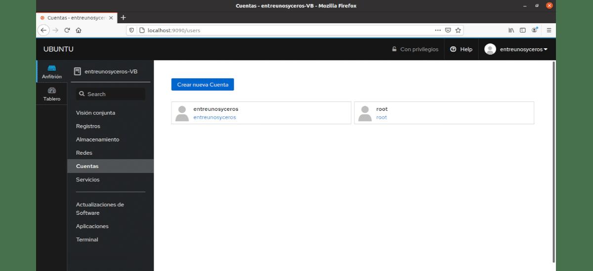gestión para las cuentas de usuario