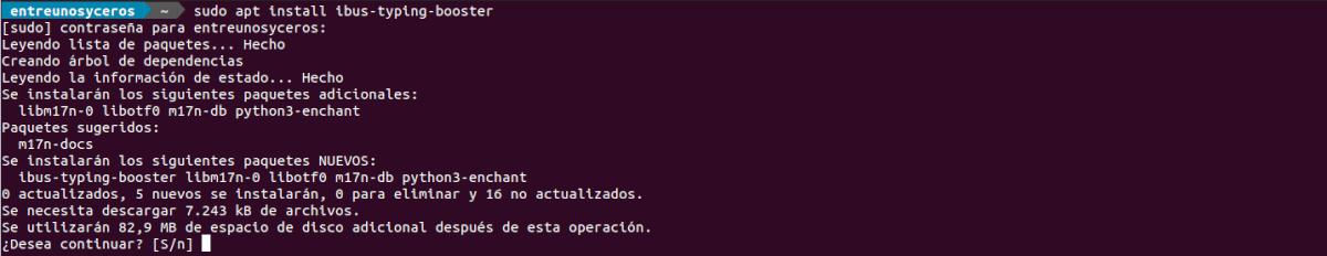 ibus typing booster instalación en Ubuntu