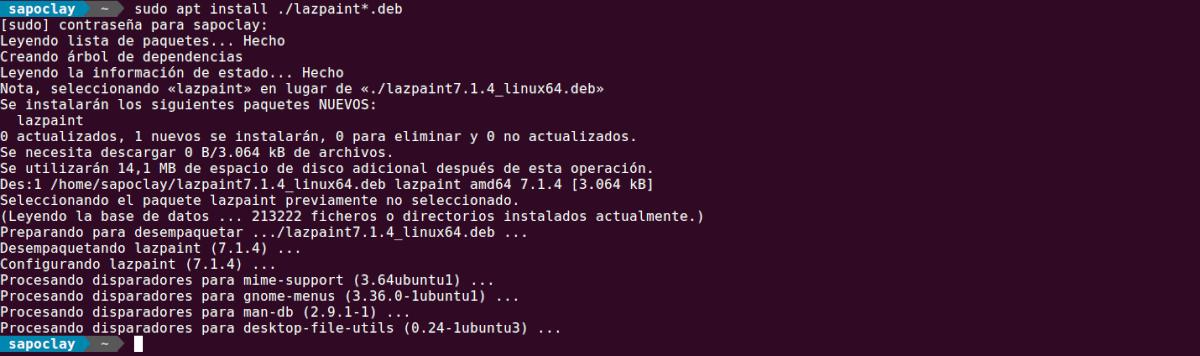 Instalación de lazpaint 7.1.4