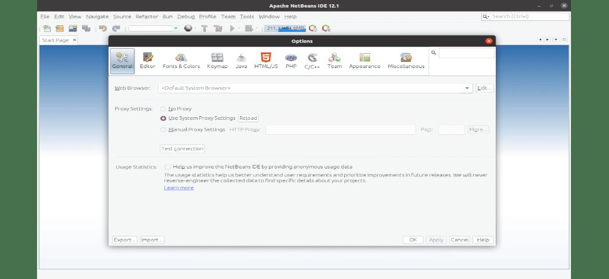 opciones de Apache Netbeans 12.1