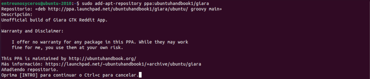 añadir repositorio para Giara
