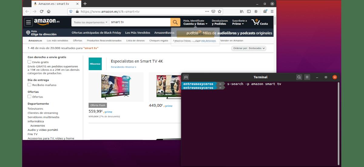 búsqueda en Amazon de smart tv