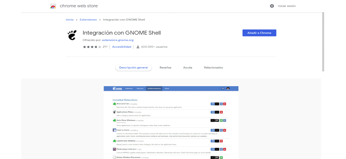 instalar gnome shell extensions chrome