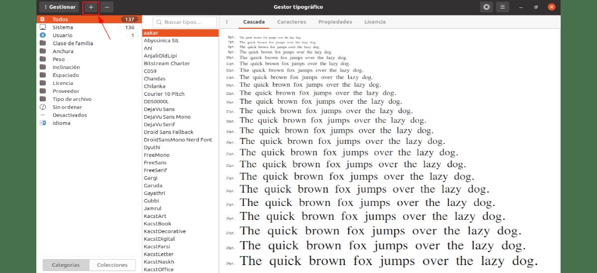 añadir fuente con font manager