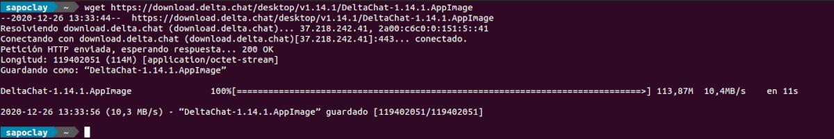 descargar delta chat como appimage