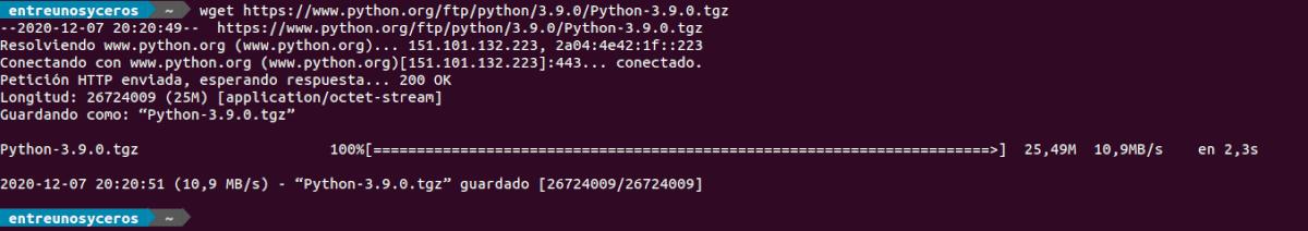 descargar python 3.9 con wget