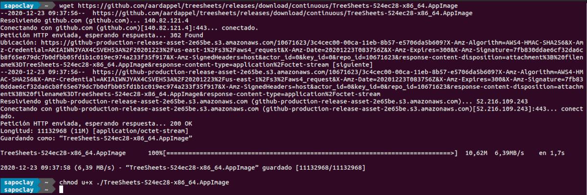descargar treesheets como Appimage