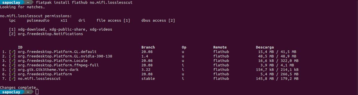 instalar losslesscut como flatpak