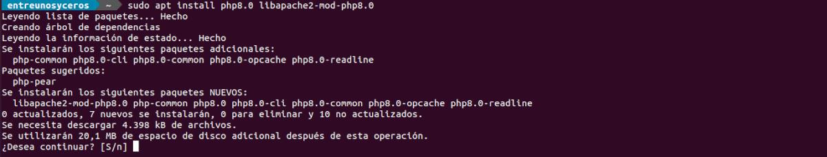 instalar php 8 en apache2
