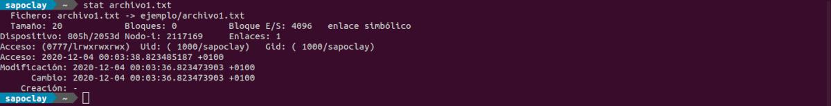 comando stat enlace simbólico