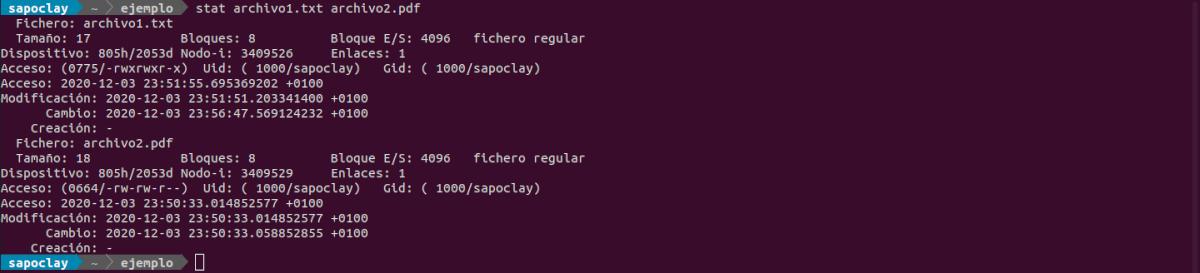 comando stat de varios archivos