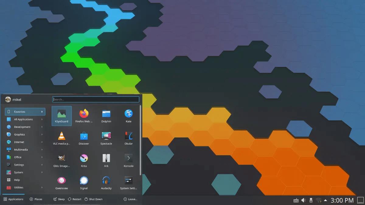 Proximio kickoff en KDE Plasma
