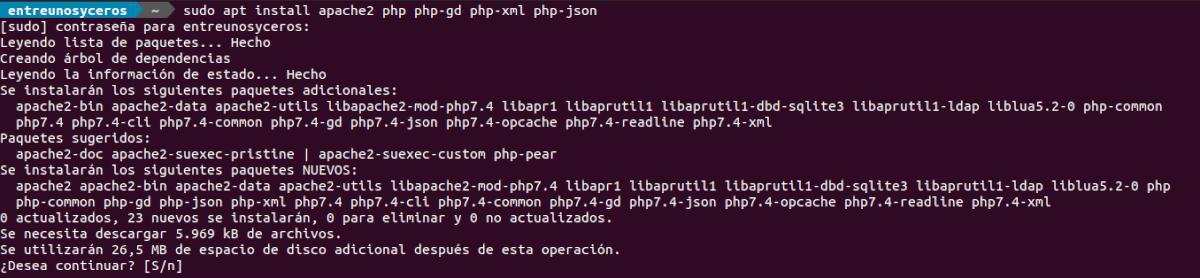 instalar apache2 y php