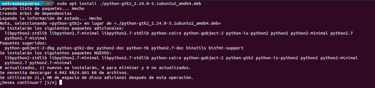 instalar python gtk2