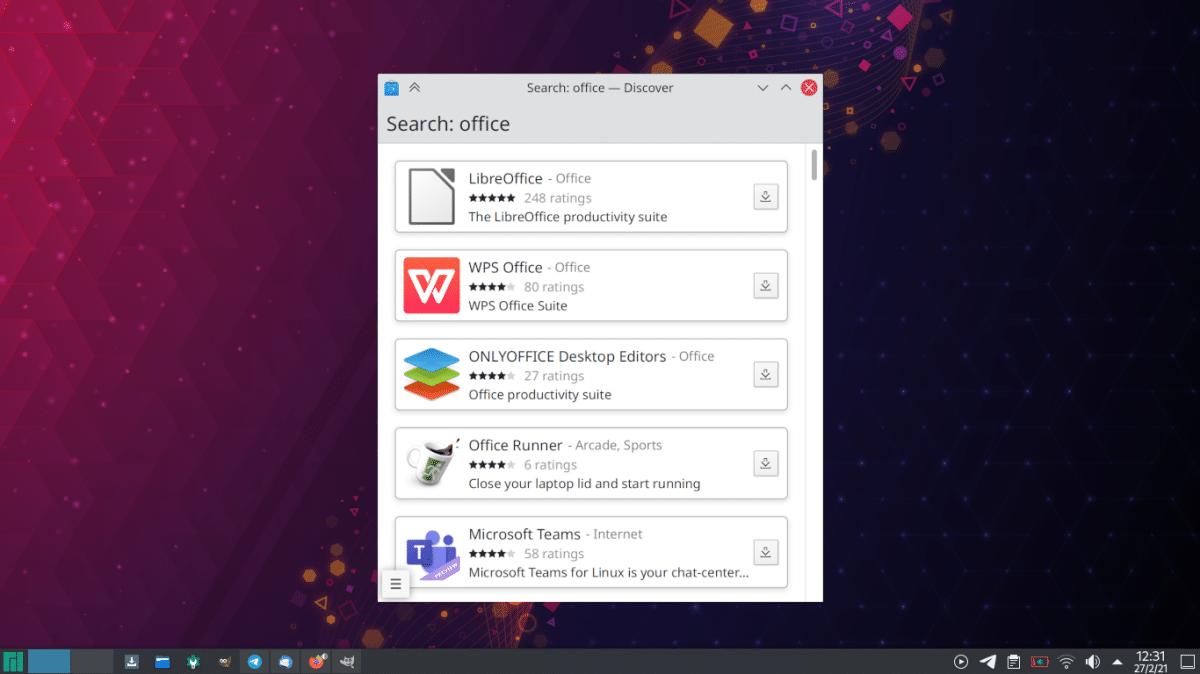 Vista de Discover móvil en KDE Plasma 5.22