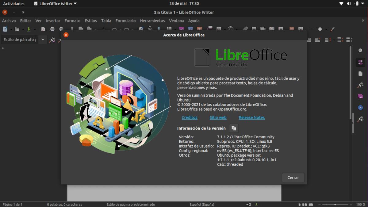 LibreOffice 7.1.1 en Ubuntu