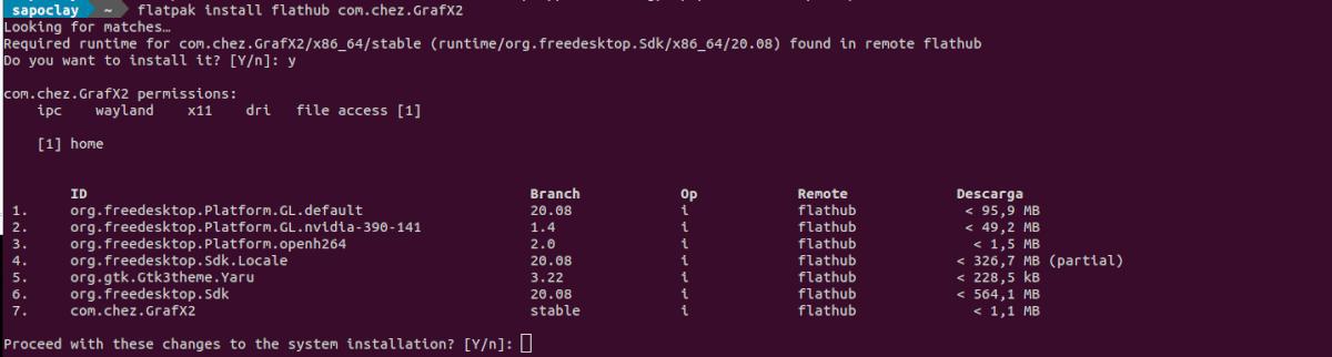 instalación del programa como flatpak