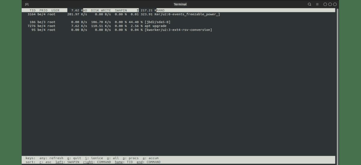 iotop muestra solo procesos