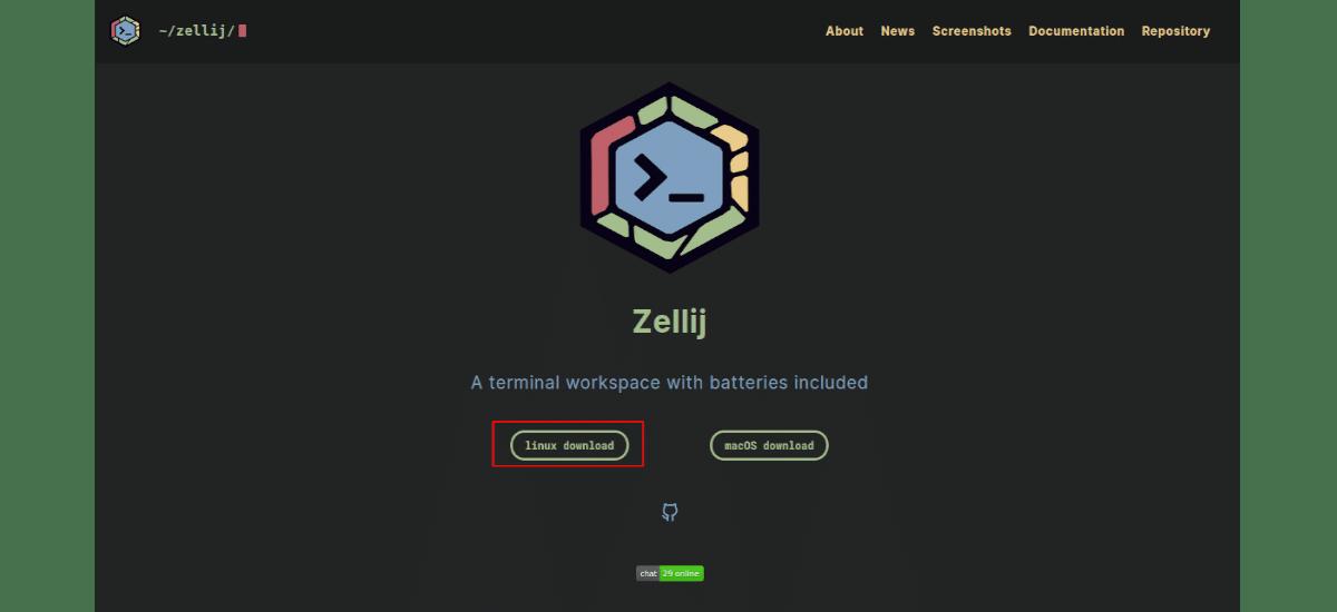 descarga el paquete zellij desde navegador