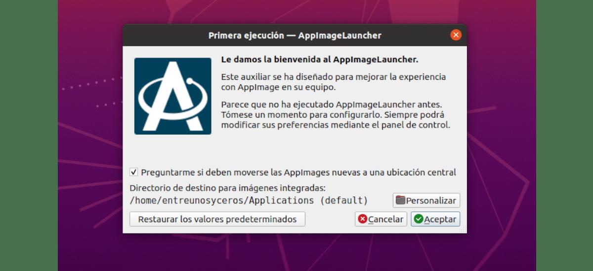 pantalla de inicio de appimagelauncher