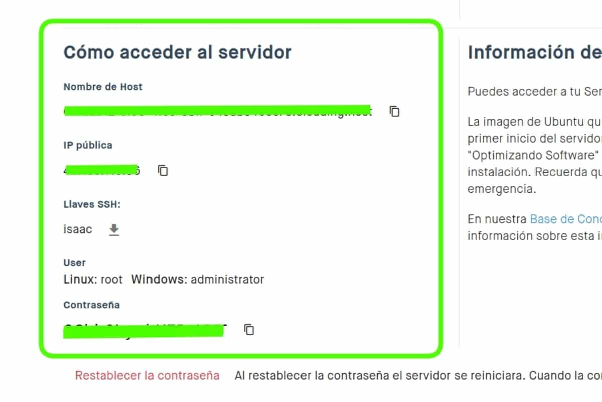 datos de acceso al servidor
