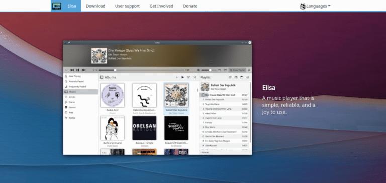 Web de Elisa como parte de KDE Gear 21.04.2