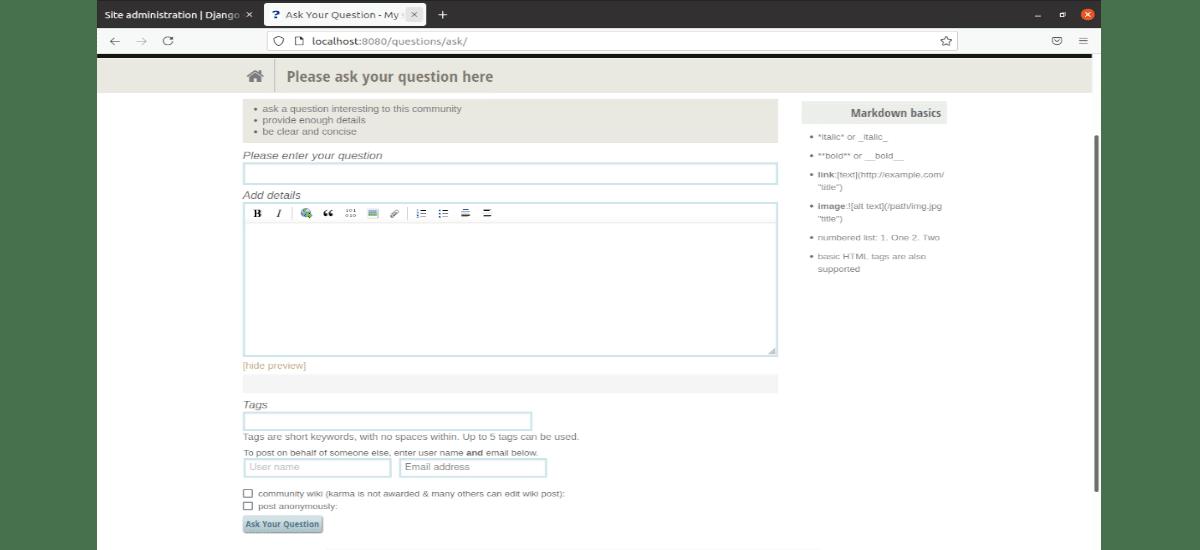 formulario para enviar preguntas