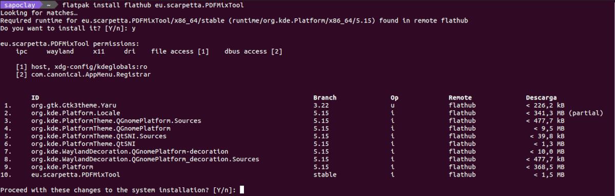 instalar pdf mix tool como flatpak