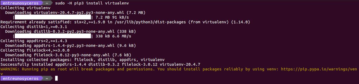 instalar virtualenv