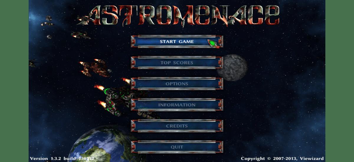 astromenace pantalla de inicio