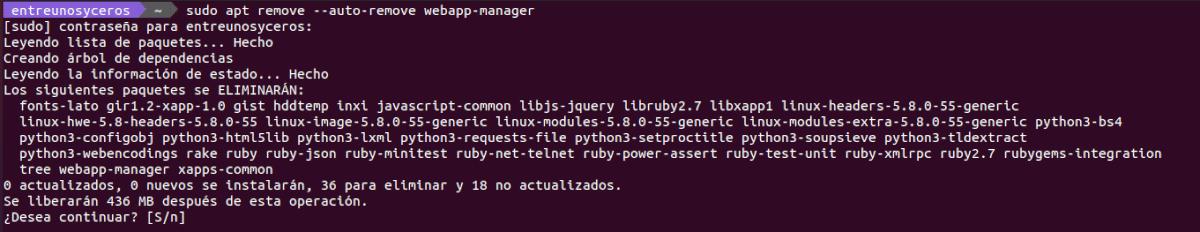 desinstalar webapp manager