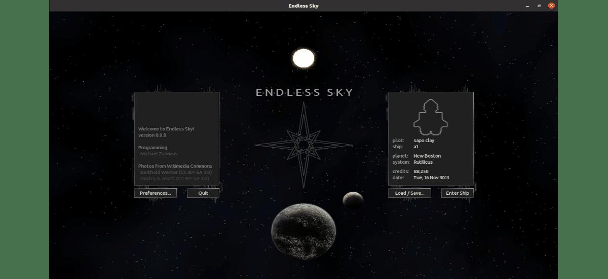 pantalla de inicio endless sky