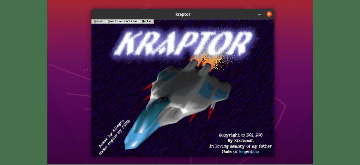 pantallade inicio de Kraptor
