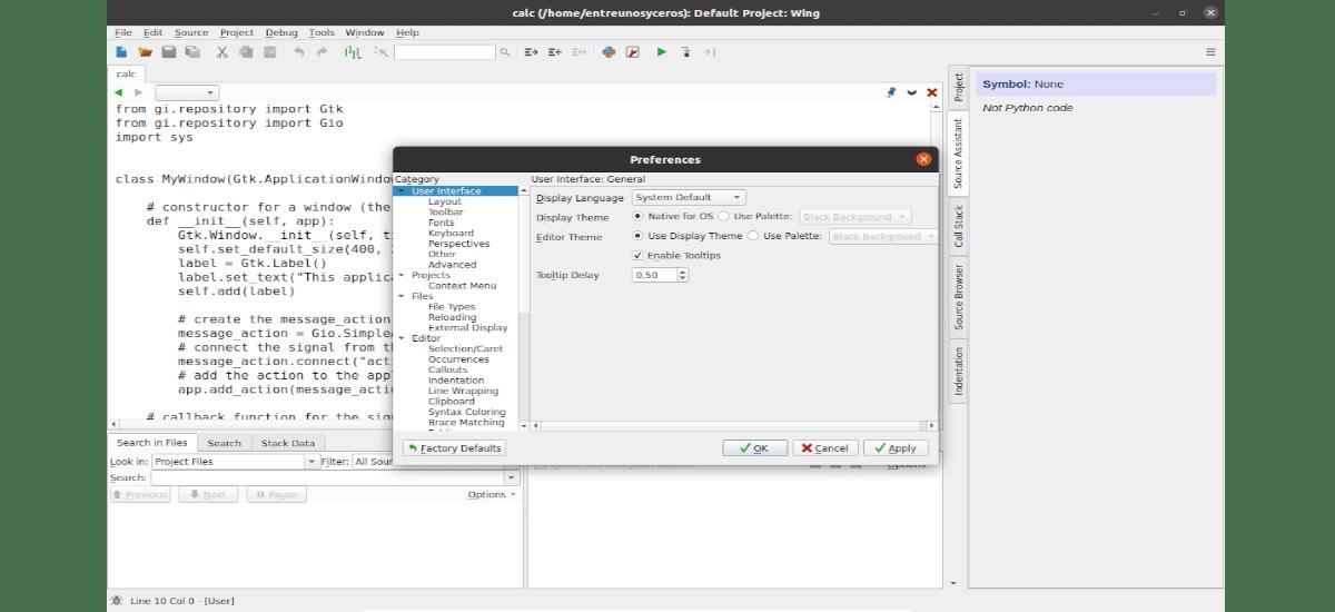 preferencias de Wing 8 Python IDE