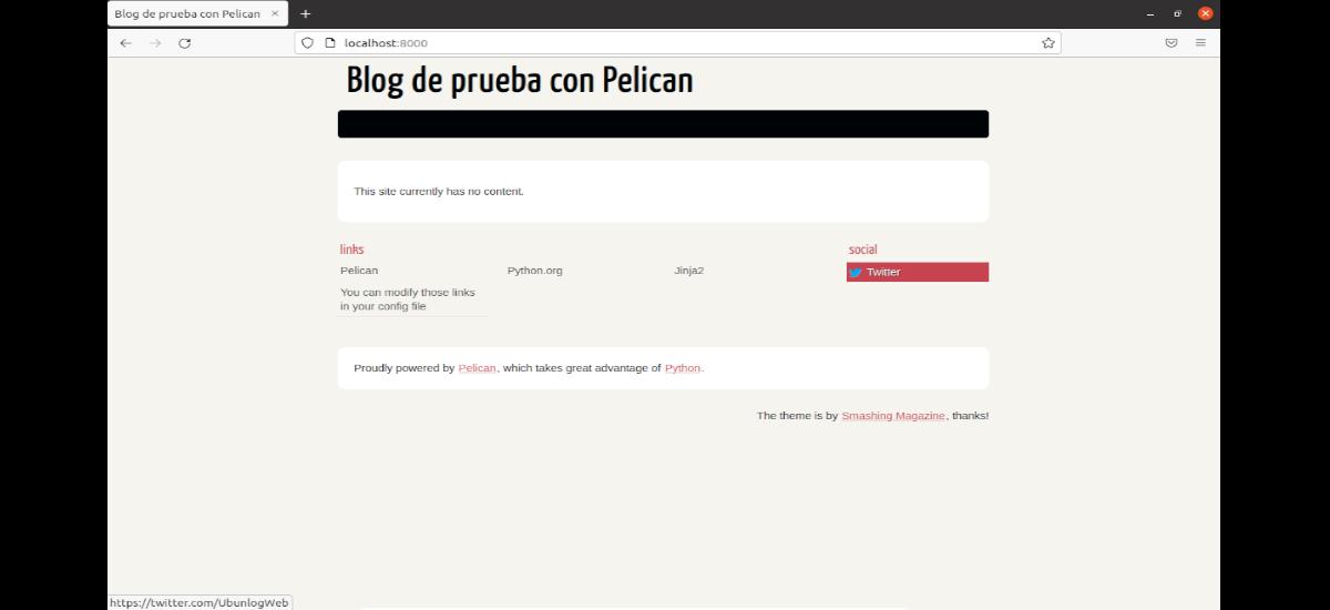 página de muestra creada con Pelican