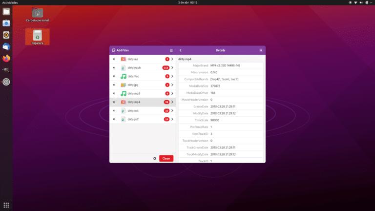 Metadata Cleaner en GNOME