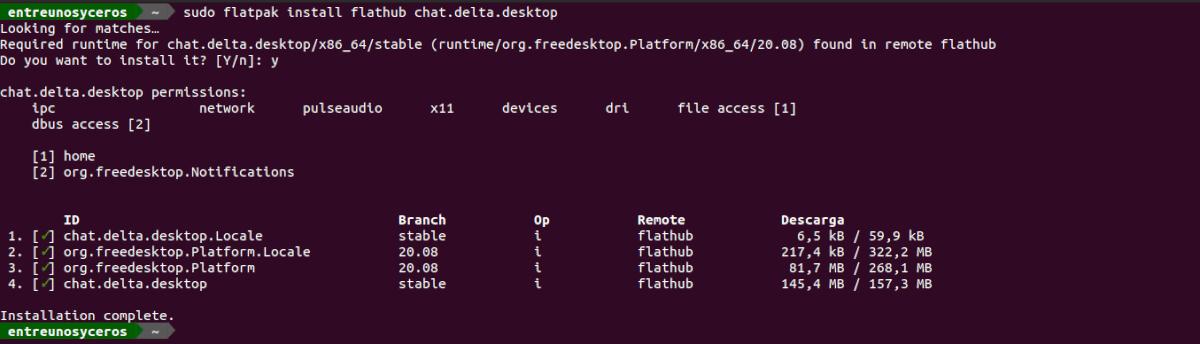 instalación delta chat flatpak