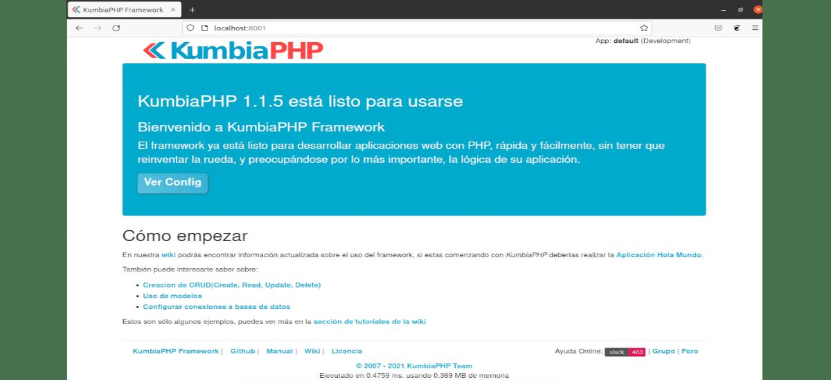 Página kumbiaphp
